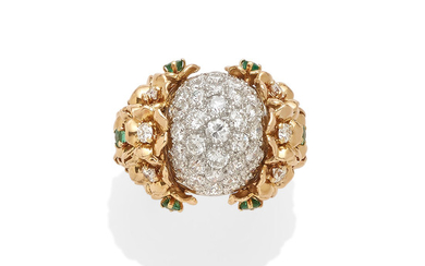 A diamond and emerald bombé ring
