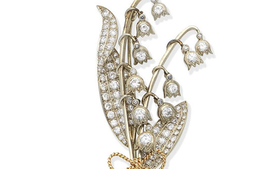 A diamond lily of the valley brooch, circa 1955