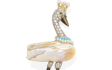 A diamond, pearl, turquoise and enamel swan brooch