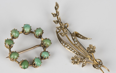 A gold and seed pearl brooch, designed as a floral and foliate spray, detailed '9ct', widt