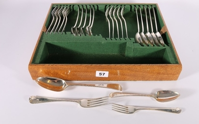 A harlequin six place suite of silver oar pattern flatware i...