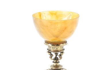 A late 16th / early 17th century silver-gilt and hardstone cup