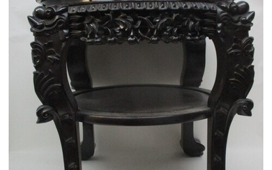 A late 19th century Chinese hardwood stand with a lobed, ins...
