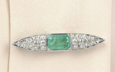 A mid 20th century 18ct gold emerald and old-cut