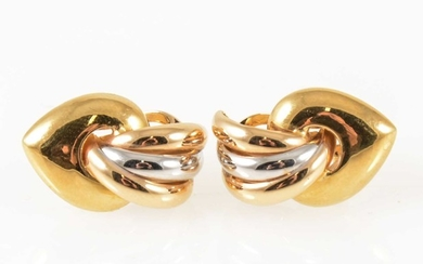 A pair of 18 carat yellow and white gold earrings.
