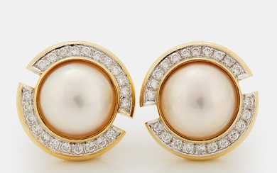 A pair of 18K gold and mabe pearl earrings set with round brilliant-cut diamonds