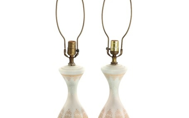 A pair of French frosted glass table lamps. First par of the 20th century. H....