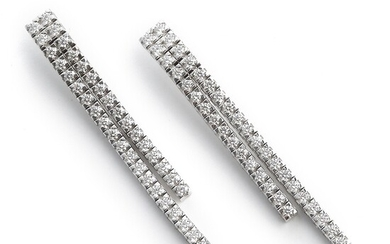 NOT SOLD. A pair of diamond ear pendants each set with numerous brilliant-cut diamonds weighing...