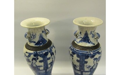 A pair of early 19c Chinese baluster vase and covers, blue o...