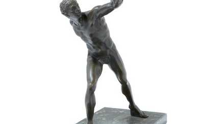 A patinated bronze sculpture of the Borghese Gladiator