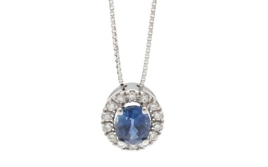 A pendant set with a sapphire weighing app. 0.88 ct. encircled by diamonds, mounted in 18k white gold. Accompanied by chain of 18k white gold. (2)