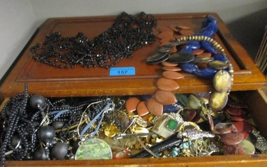 A quantity of costume jewellery to include a silver necklace...