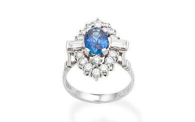 A sapphire and diamond cluster ring, 1975