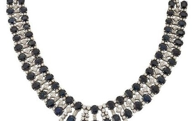 A sapphire and diamond fringe necklace, the triple...