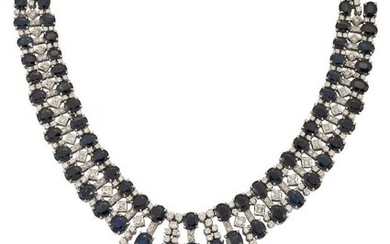 A sapphire and diamond fringe necklace, the...