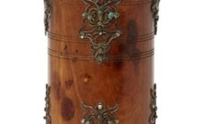 A silver filigree decorated fruitwood betel container,...