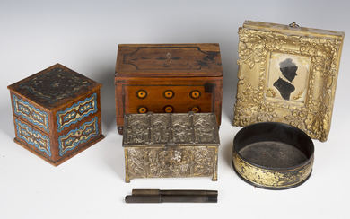 A small group of collectors' items, including a 19th century painted silhouette, the reverse ti