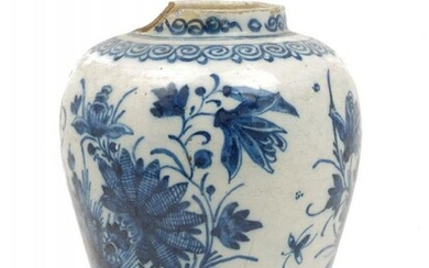 A tin glazed earthenware blue and white...