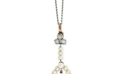 AN ANTIQUE DIAMOND AND PEARL PENDANT AND CHAIN set with