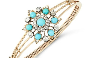 AN ANTIQUE TURQUOISE AND DIAMOND BANGLE / PENDANT /