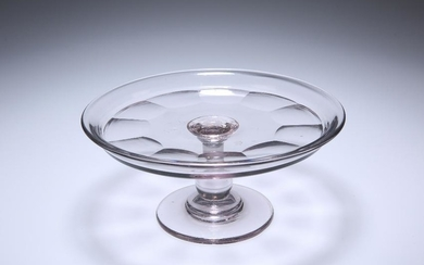 AN EARLY 19TH CENTURY GLASS TAZZA, with baluster stem