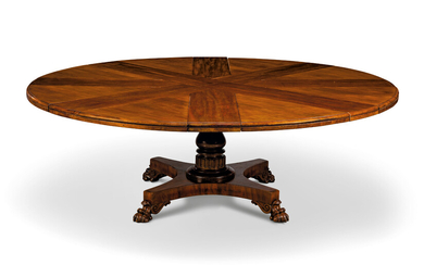 AN EARLY VICTORIAN MAHOGANY 'JUPE' CIRCULAR EXTENDING DINING-TABLE