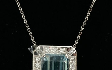 AQUAMARINE, DIAMONDS, 14KT WHITE GOLD NECKLACE