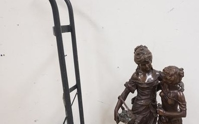 LARGE BRONZE STATUE SIGNED AUGUST MOREAU OF TWO WOMEN