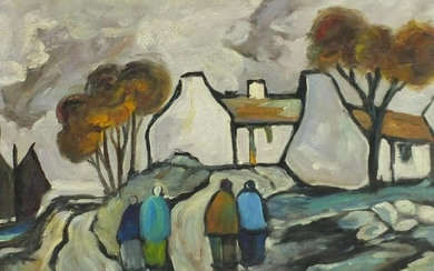 After Markey Robinson - Figures by cottages, Irish