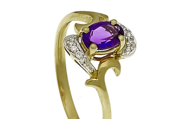 Amethyst ring GG / WG 585/000 unmarked, expertized,...