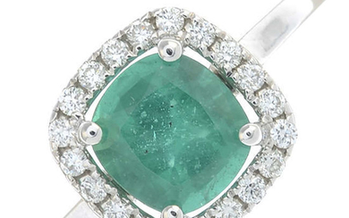 An 18ct gold cushion-shape emerald and brilliant-cut diamond cluster ring.