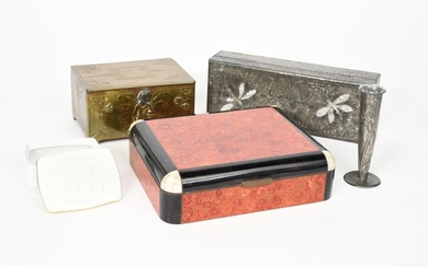 An Art Deco inlaid box with hinged cover, cedar lined, the box inlaid with red marble panels, polished slate rims with mother of pearl corners, an Art Nouveau pewter mounted box decorated with dragonflies, inlaid with mother of pearl, two other boxes...