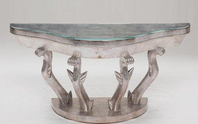 An Art Deco style silvered wood console