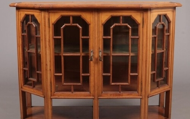 An Arts & Crafts satinwood and marquetry sideboard, probably...