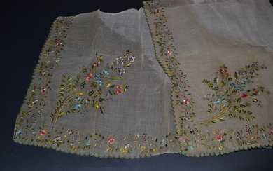 An Early Embroidered Fine Gauze Flounce or Possibly an Apron,...
