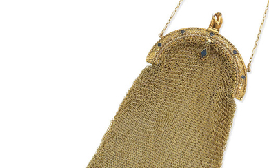An early 20th century gold, sapphire and seed pearl evening purse