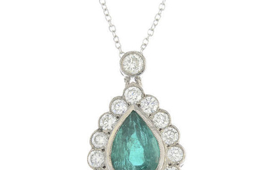 An emerald and brilliant-cut diamond cluster pendant, with chain.