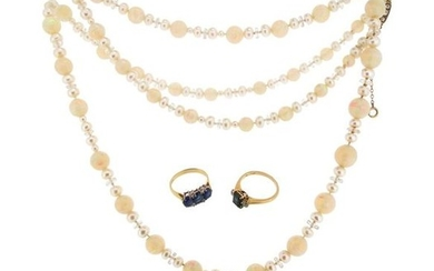 An opal bead and cultured pearl necklace, set...
