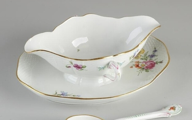 Antique German porcelain sauce boat + spoon, with
