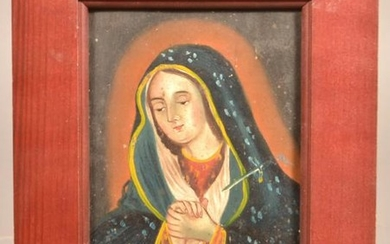 Antique Madonna Painting on Tin.