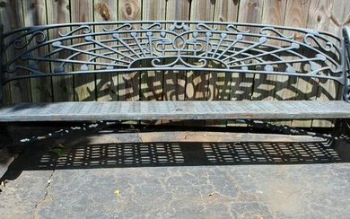 Art Nouveau style cast iron park bench
