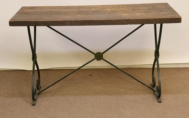 Baroque Style Oak & Wrought Iron Table