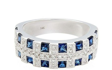 Blue Sapphire Diamond Gold Band Ring