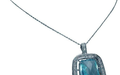 Blue Topaz Enhancer Pendant Necklace 14K White Gold