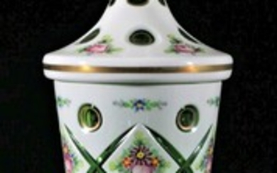 Bohemian Lidded Green Glass Vase With Handpainted Flowers (H:42cm)