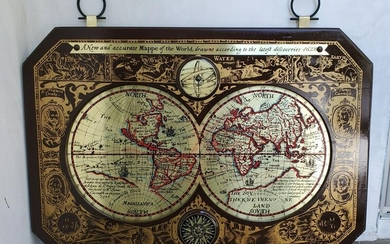 Brass And Wooden Map of 1628 Discovered World