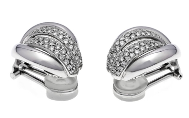 Brilliant ear clips WG 750/000 with diamonds, total...