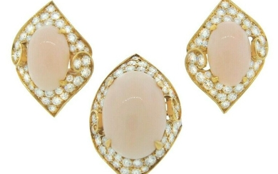 Bvlgari Coral Diamond Gold RING and EARRINGS Set