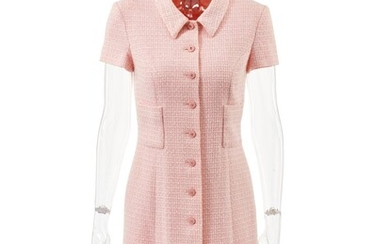 CHANEL | PINK AND WHITE COTTON - AND WOOL BLEND SHIRT DRESS