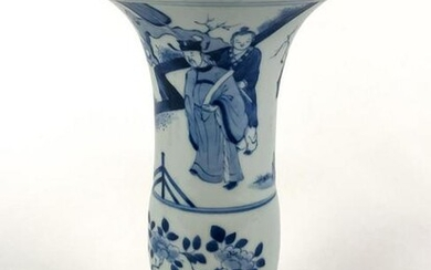 CHINESE BLUE AND WHITE CHING STYLE GU VASE